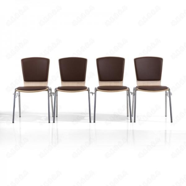 厂家定制不锈钢脚皮面软包坐垫带连接扣可叠放弯木餐椅