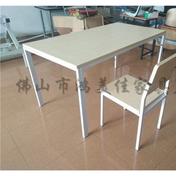 厂家定制现代中式钢木四人位分体员工餐厅防火板餐桌椅