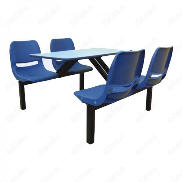 厂家定制塑料靠背四人位公司饭堂职员餐桌椅尺寸可定