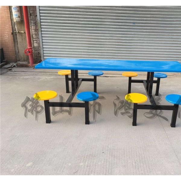 厂家定制工厂食堂饭堂四/八人位工人学校学生玻璃钢快餐桌椅