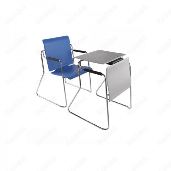 厂家定制多功能桌椅两用木质/塑料靠背不锈钢脚培训会议桌椅
