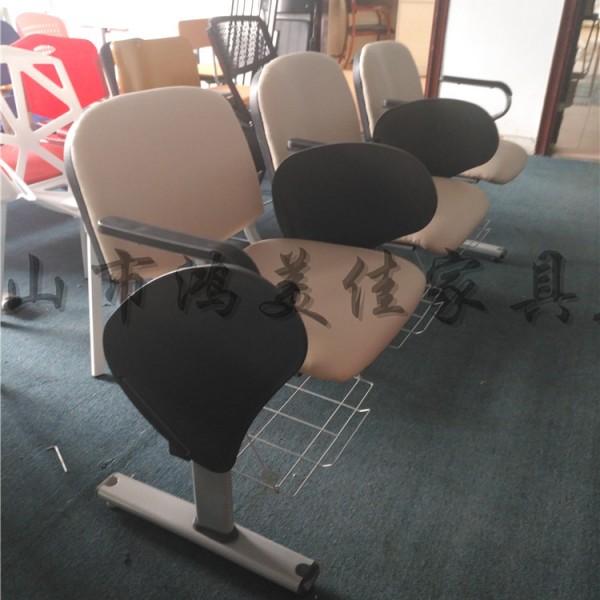 厂家定制会议室培训室软包靠背连排培训椅带小桌板公共座椅