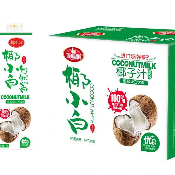 厂家餐饮装贵州椰子汁饮料1L8方瓶装连锁加盟