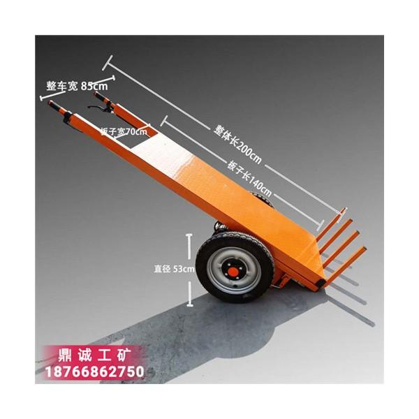 载重600kg电动平板拉砖车 手推式一次性卸车工地拉砖车