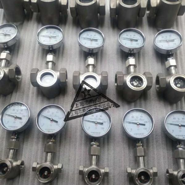 带温度表管道视镜,不锈钢视水器,管道窥视装置