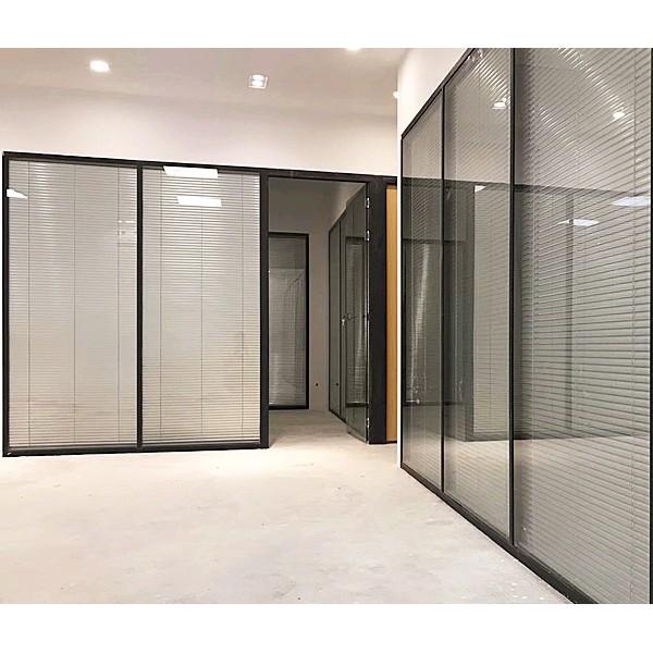 上海玻璃隔断墙办公室高隔断铝合金百叶窗成品双层钢化玻璃间屏风