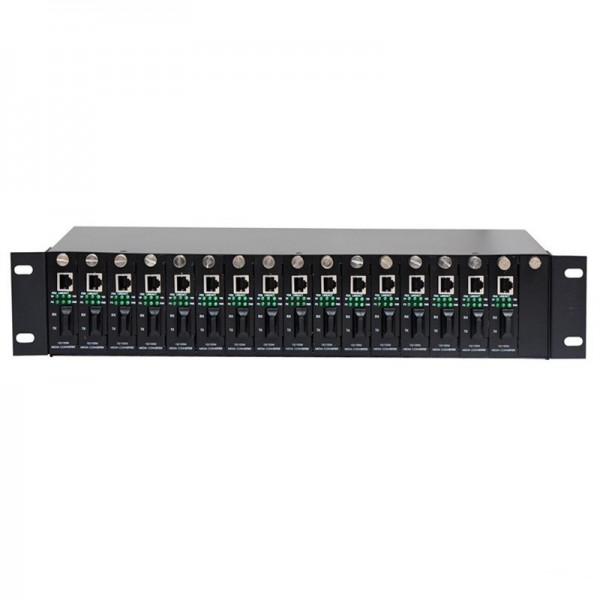 汇聚集中式 16槽机架式光纤收发器 16路收发器 机架式