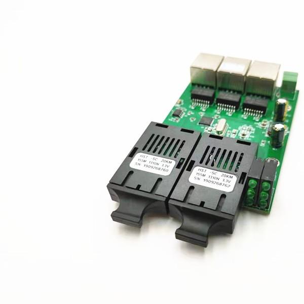 12V百兆迷你2光3电单模单纤收发器级联式3口交换机煤矿