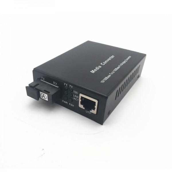 火焰 百兆光纤收发器1光1电单模高清网络安防监控光电转换器