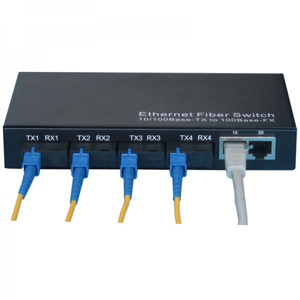 火焰 百兆光纤收发器4光2电单模高清网络安防监控光电转换器