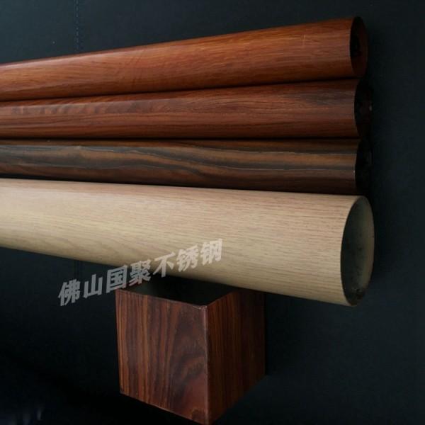 佛山厂家大量批发不锈钢仿古木纹圆管65mm76mm4.5mm