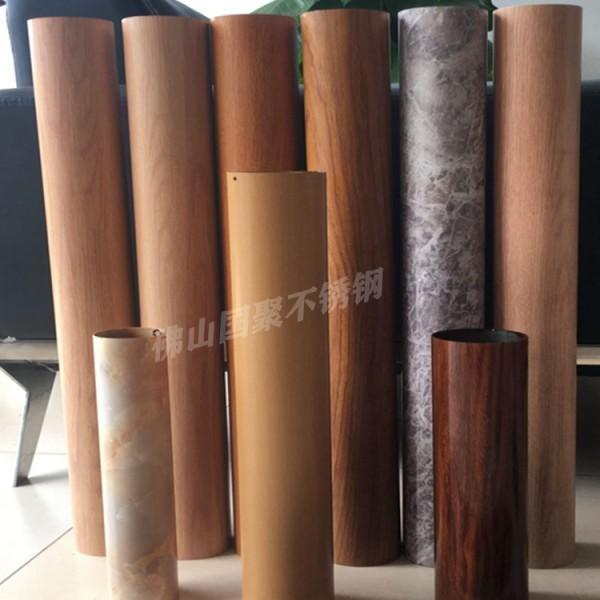 佛山厂家大量批发不锈钢仿古木纹圆管80mm89mm4.5mm