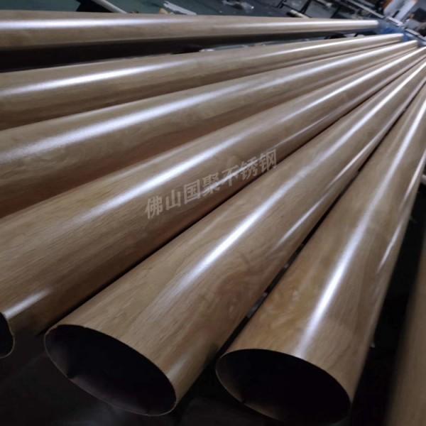 佛山厂家大量批发不锈钢仿古木纹圆管125mm133mm4mm