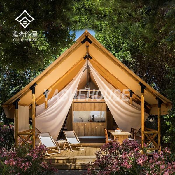 济南景区休闲度假景区野奢帐篷,木质撑杆豪华露营帐篷酒店