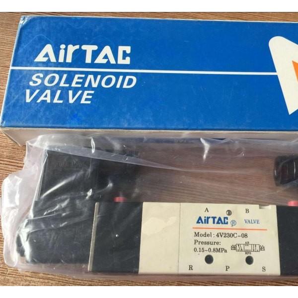 亚德客4V230C-08电磁阀 三位五通电磁阀双线圈