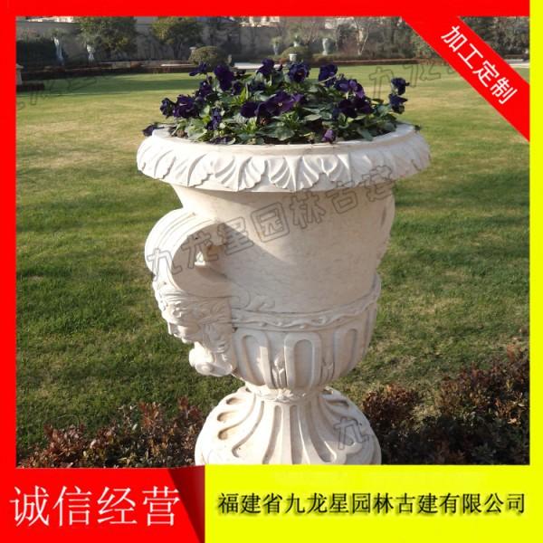 大型石雕花盆 黄锈石花盆价格