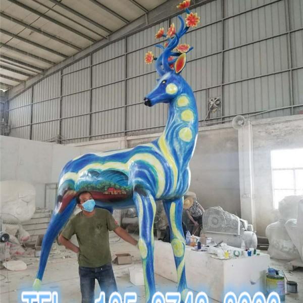 浙江园林景观摆件彩绘长颈鹿雕塑玻璃钢模型定制