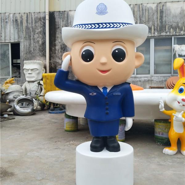 东莞长安镇司法卡通公仔形象雕塑玻璃钢警察模型
