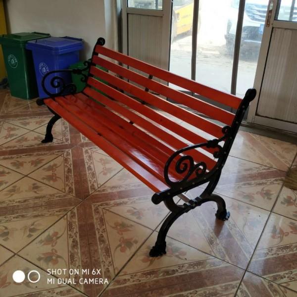 户外休闲凉椅 公园椅铸铝脚防腐木靠背椅