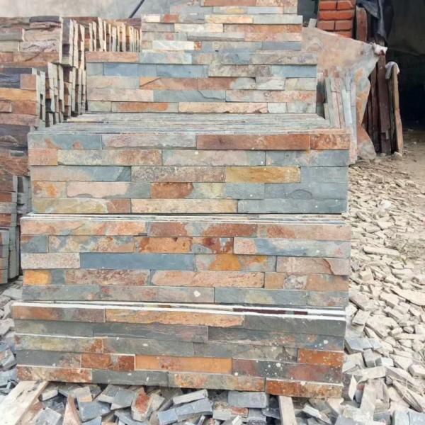 组合板_庭院墙面石铺路石_天然板岩文化石