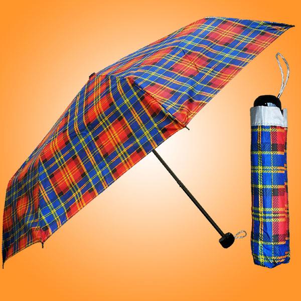 广州荃雨美雨具厂 雨具工厂 三折银胶格子伞 广告三折雨伞