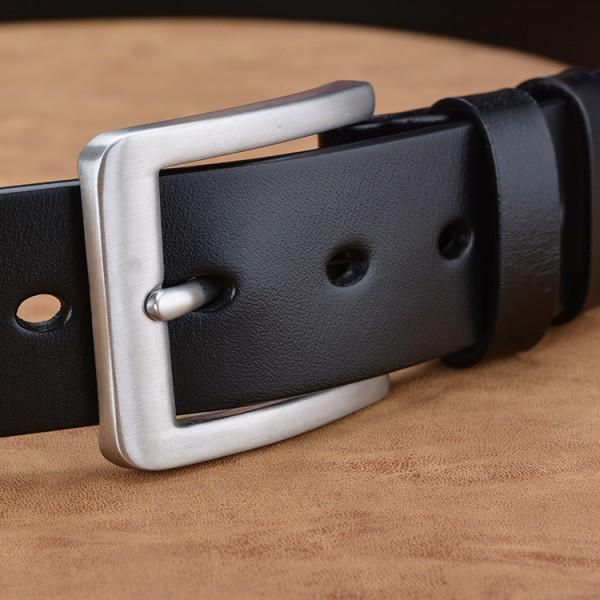 品牌头层皮新款针扣皮带男士腰带 高档休闲316质材不锈钢裤带