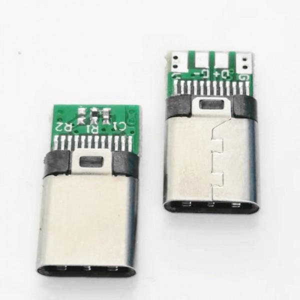 TYPE-C 夹板公头 24P 夹板0.8后四焊线长10.5