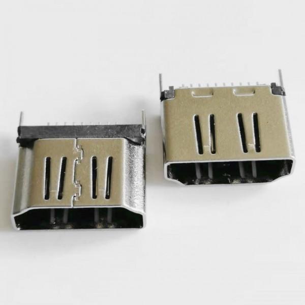 A型 HDMI 19P夹板母座 180度插板鱼叉脚11.0