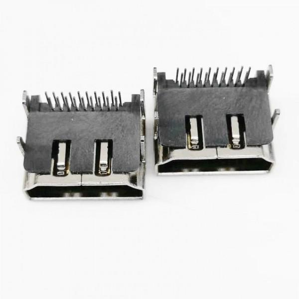 A型 HDMI 19P母座 90度四脚插板DIP 板上型