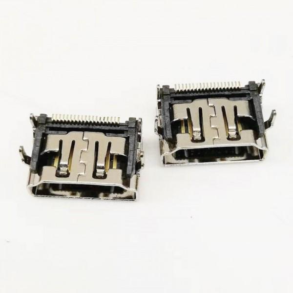 A型 HDMI 19P母座 90度四脚插板T贴片 带防尘塞