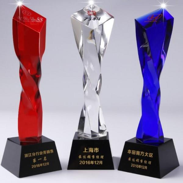 西安水晶奖杯奖牌刻字 染色比赛颁奖会议水晶纪念品摆件