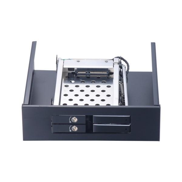 机箱光驱位2x2.5寸SATA热插拔硬盘抽取盒