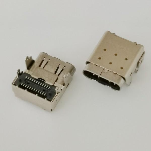 垫高TYPE-C 24P双贴母座 90度四脚插板 双外壳