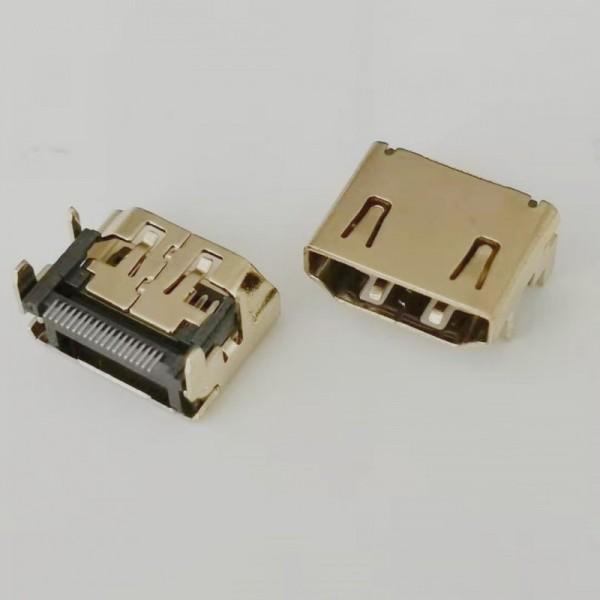 板上HDMI Type 19P母座 四脚插板 端子贴片