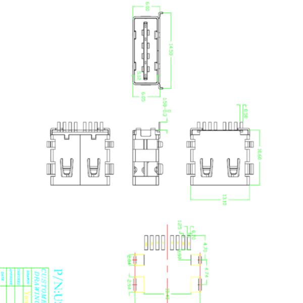TYPE-C 母座 前插后贴14P 移动电源充电器
