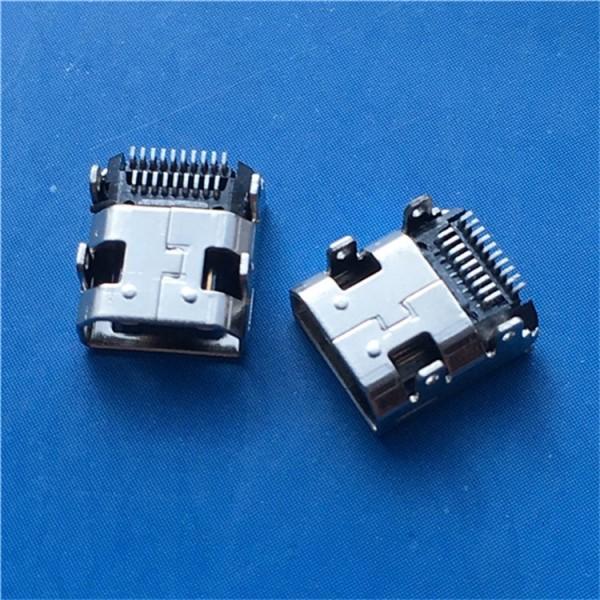 HDMI母座 19Pin四脚插板 贴片SMT双贴