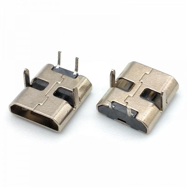 MICRO USB 2P母座90度插板直边黑胶加长脚3.0