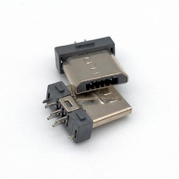 MICRO USB 5P公头超短夹板0.8 针长1.2