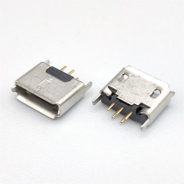 MICRO USB 5P母AB型卷边方口 不锈钢雾锡加长针