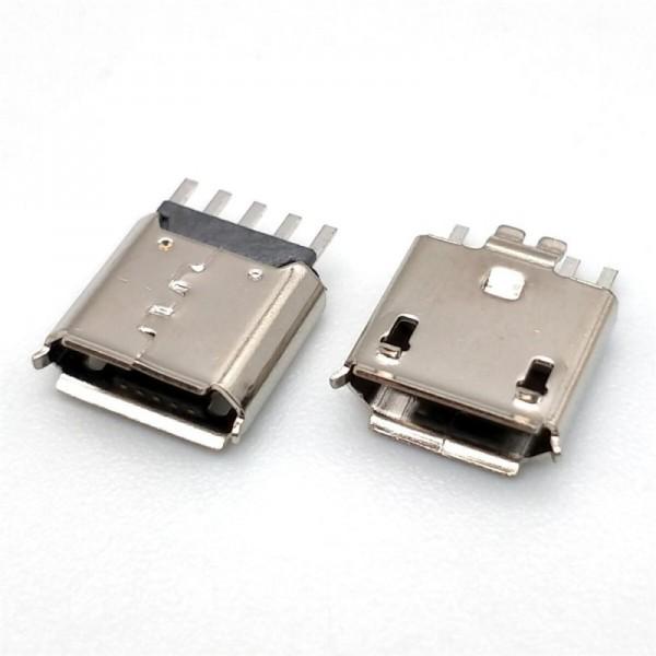 MICRO USB 5P母座夹板0.8卷边黑胶 鱼叉式
