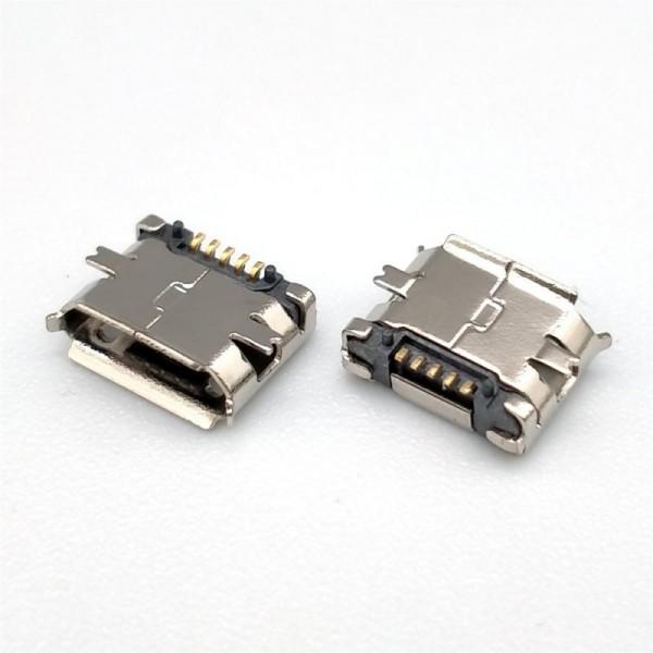 MICRO USB 5P母座四脚全贴片SMT卷边带定位柱