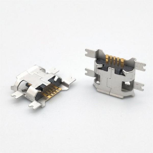 MICRO USB5P母座3A大电流四脚沉板SMT贴片卷边