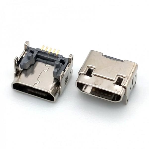 MICRO USB加高母座 垫高型四脚 双壳卧式插板
