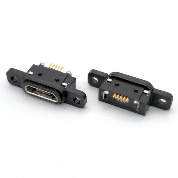 MICRO USB 5P防水母座带防水胶圈 AB型防水等级