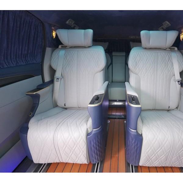别克GL8定制改装品驭玫瑰金帝王蓝电动座椅沙发床电中尾门包围