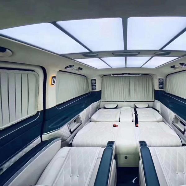 奔驰威霆航空座椅V260内饰改装沙发床木地板包围电动中门