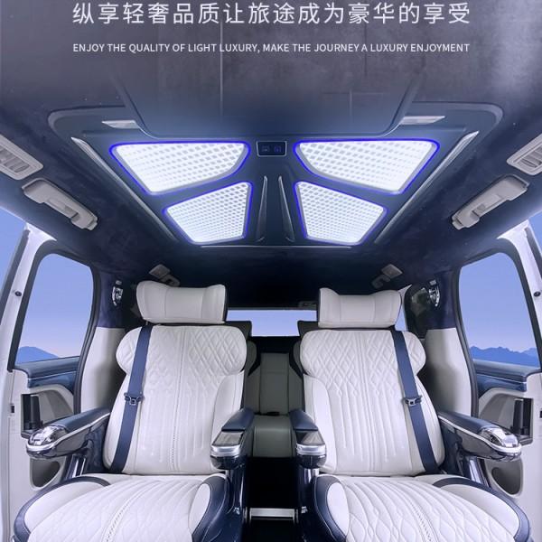别克gl8航空座椅改装水晶宝座帝王蓝沙发床奔驰威霆木地板