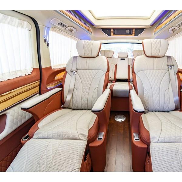 奔驰V260专业定制电动座椅沙发床木地板氛围灯内饰改装