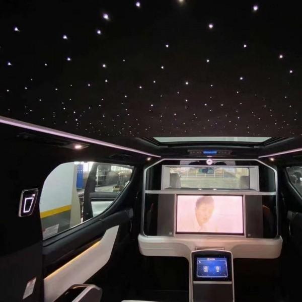 埃尔法威尔法改装蒙娜丽莎包围麂皮车顶+星空顶全套木地板