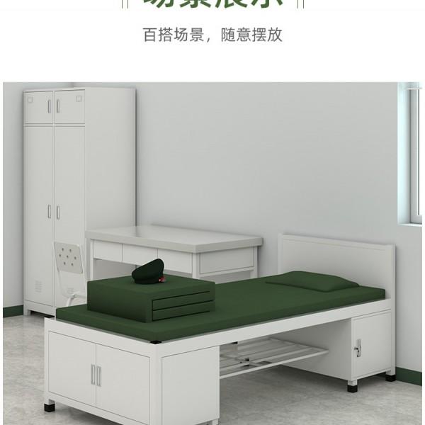 香河悦博办公家具钢制单人床宿舍营具床带储物铁床含床下柜单层床
